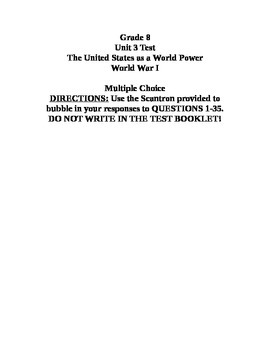 Unit Test on the US as a World Power and WWI