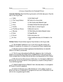 Unit Test with Answer Key for A Streetcar Named Desire by Tennessee Williams
