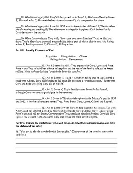 Unit Test with Answer Key for Fences by August Wilson