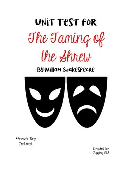 Unit Test with Answer Key for The Taming of the Shrew by W