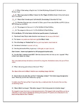 Unit Test with Answer Key for the Novel Catalyst by Laurie Halse Anderson