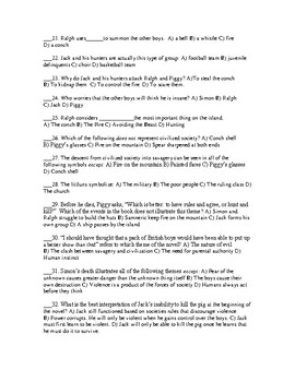 Unit Test with Answer Key for the novel Lord of the Flies by William Golding