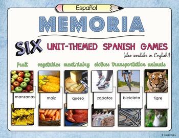 Unit-Themed Spanish Memory Games –Set of 6!