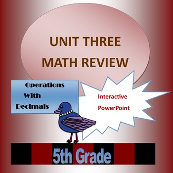 Unit Three Math Review for 5th Grade