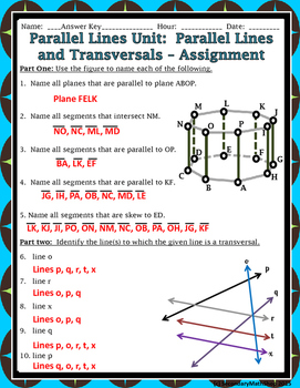 Parallel Lines - Unit 3:  #1: Parallel Lines, Planes, Trans & Angles Notes/HMWK