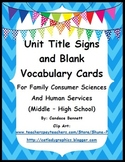 Unit Titles and Blank Word Cards -  Family and Consumer Science / Human Services