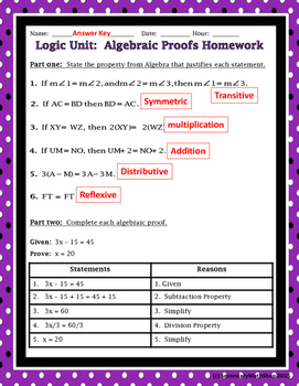 Proof - Logic - Unit 2: Proof & Logic #4: Algebraic Proofs Notes & Assignment