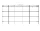 Unit Vocabulary Graphic Organizer