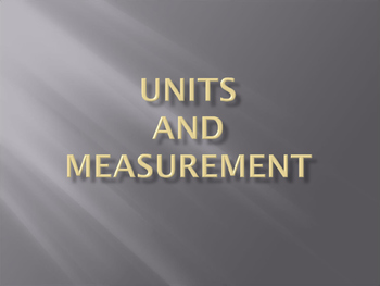 Unit and Measurement
