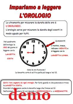 Unità didattica sull'orologio: impara a leggere l'ora, esercizi, giochi, schede