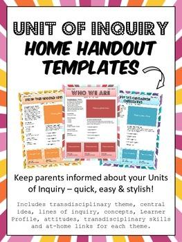 PYP IB Unit of Inquiry Parent Communication Templates