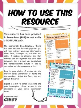 pyp ib unit of inquiry parent communication templates by england designs