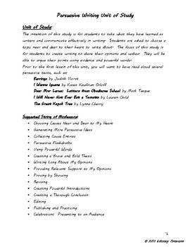 Unit of Study for Persuasive Writing:  Writing Persuasive Speeches and Letters