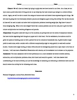 Unit on African Animals - Math Worksheets