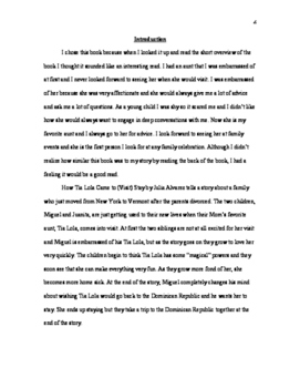 Unit on How Tia Lola Came To Stay - 4th Grade