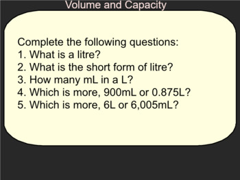 Unit on Volume and Capacity