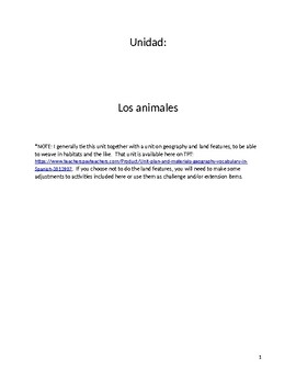 Unit plan and materials: animals in Spanish
