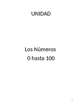 Unit plan and materials: numbers 0 to 100 in Spanish