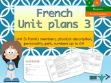 French Unit plans my family, ma famille Unit 3 for beginners