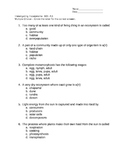 Unit test on Ecosystems Virginia SOL 4.5