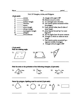 Unit test on polygons: Finding Area, Perimeter, and Surface Area