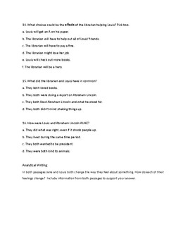 Reading Wonders: Unit three week two comprehension test