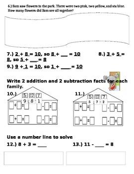 Unit to assess 1.OA.1, 1.OA.2, 1.OA.3, 1.OA.6, 1.OA.8, 1.NBT.1