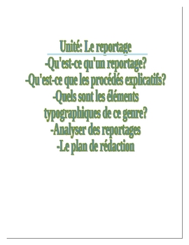 Unité-Le reportage