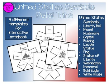 United States Symbols Interactive Notebook Petal Flaps
