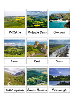 United Kingdom Countryside 3-part cards