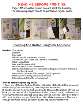 United Kingdom Lap Book (Northern Ireland, England, Wales,