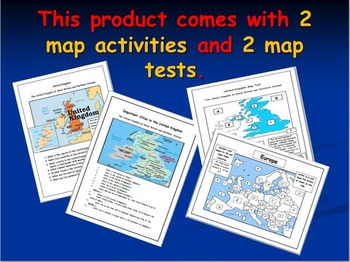 United Kingdom Map Activities with NATO, EU and Map on Europe Included