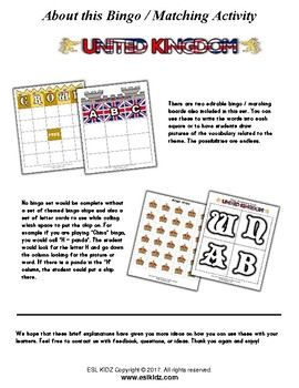 United Kingdom Matching / Bingo Game Set