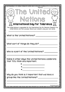 United Nations - Day of Tolerance Research Task Freebie