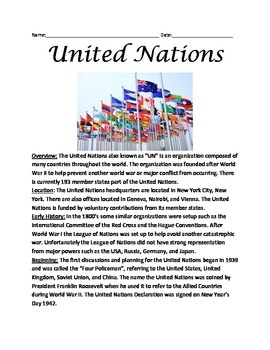 United Nations - Lesson Review Article Facts Questions Vocabulary History