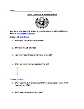 United Nations Scavenger Hunt