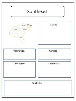 United State Regions Graphic Organizers