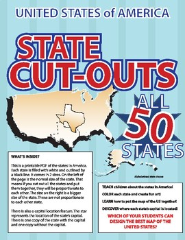United State of America State Cut-Outs