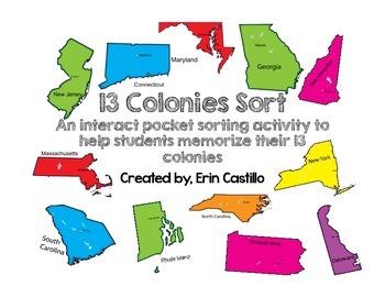 United States 13 Colonies Sort