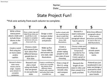 Social Studies United States Bundle: State Facts, Menu, & Capitals Activities