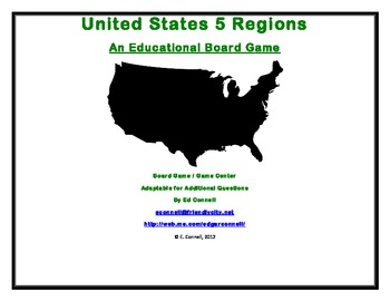 United States 5 Five Regions Board Game