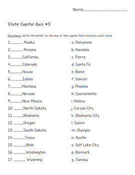 United States 50 State Capitals Quizzes with Answer Keys