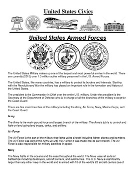 United States Armed Forces Civics Article and Assignment