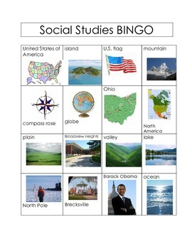 United States BINGO (Land Forms & Gov.)