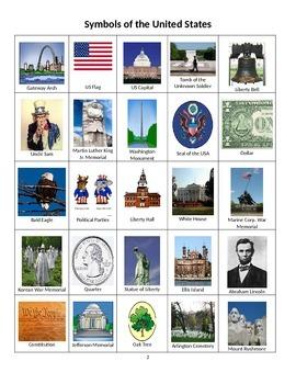 United States Bingo - Learn Popular Symbols, Monuments and Memorials