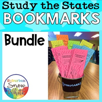 United States Bookmarks with States, Capitals, and Abbreviations {Bundled}