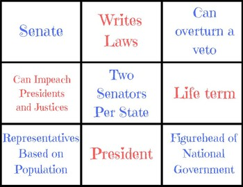 United States Branches of Government Word Sort