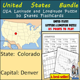 United States Bundle - 50 States Flashcards & USA Latitude and Longitude Puzzle