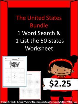 United States Bundle (List the 50 States Worksheet & 50 ...