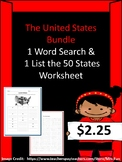 United States Bundle (List the 50 States Worksheet & 50 State Word Search)